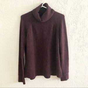 Tahari Turtleneck Sweater Marled Purple Raw Cuff M